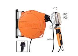 Automata kábeldob szerelőlámpával 230 Vac, E27 acélfoglalat, izzó nélkül_1843BM
