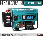 Heron EGM-55 AVR-1E bbenzinmotoros áramfejlesztő inditó automatikával GSM modullal - 5500 VA