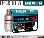 Heron EGM-68 AVR-3EG benzinmotoros áramfejlesztő max 6800/5500 VA