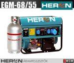 Heron EGM-68/55 benzin-gáz motoros áramfejlesztő max 6800/5500 VA