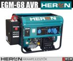 Heron EGM-68 AVR-1E benzinmotoros áramfejlesztő + HAE-3/1 inditóautomatika + GSM - 6500 VA