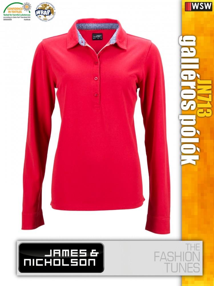 08ff542ed6 James & Nicholson JN713 női hosszúujjú prémium galléros póló ...
