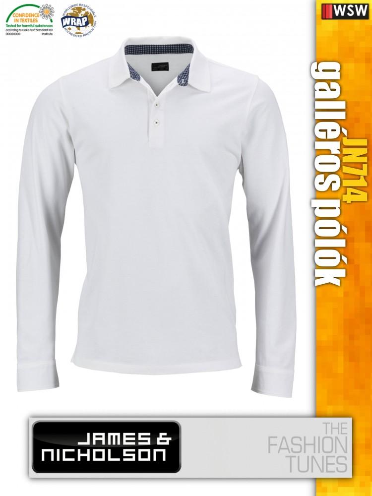 4bbfbdbe2f James & Nicholson JN714 férfi prémium hosszúujjú galléros póló ...