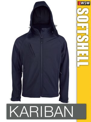 Kariban Softshell Hooded férfi kapucnis kabát polár belső