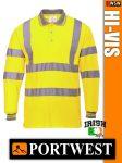 Portwest HI-VIS jól láthatósági galléros hosszúujjú póló - munkaruha