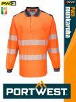 Portwest PW3 ORANGE jólláthatósági hosszúujjú galléros póló - munkaruha